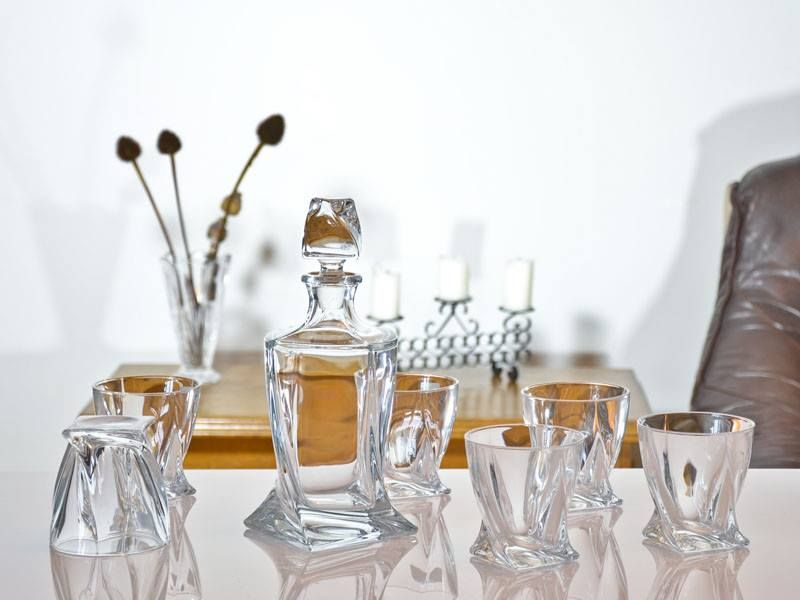 Crystal Quadro Decanter and Glasses Set 850ml - Personalised engraving | Solavia Fine Glassware