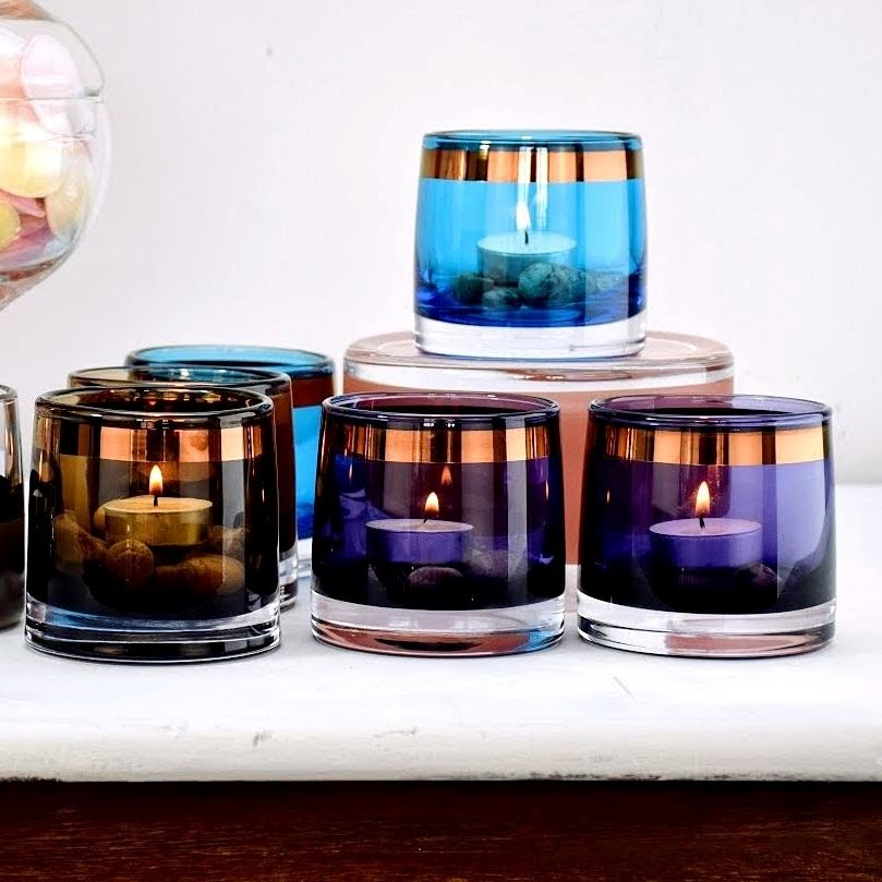 Hand painted tea light holder Solavia Fine Glassware