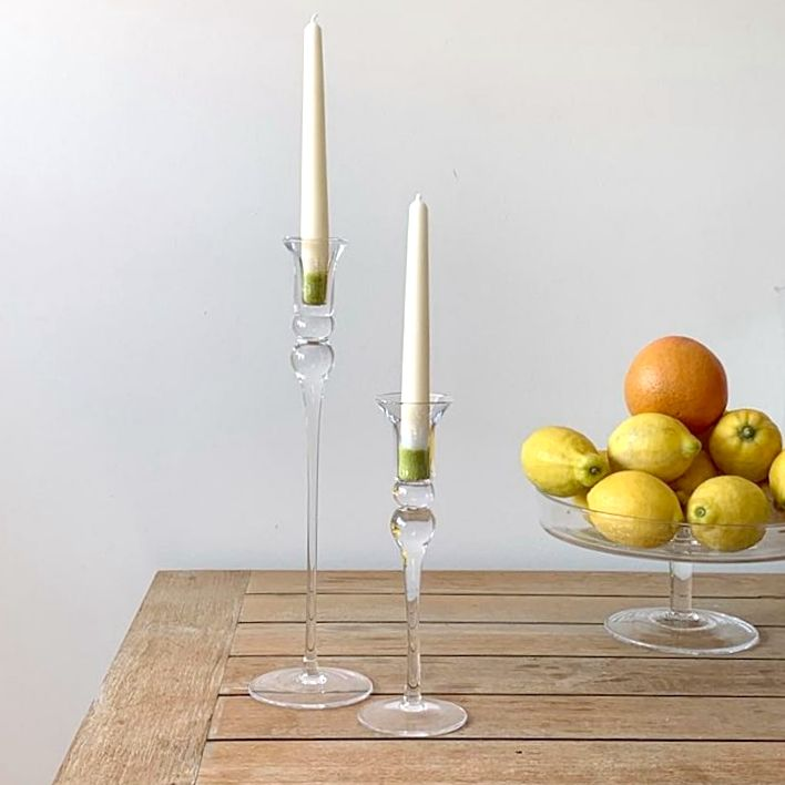Tall Curved Glass Candlestick Set of 2 – Elegant Giftware by Solavia